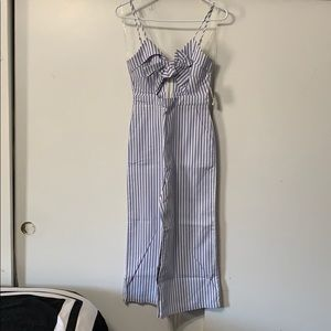 Pinstriped cut out jumpsuit
